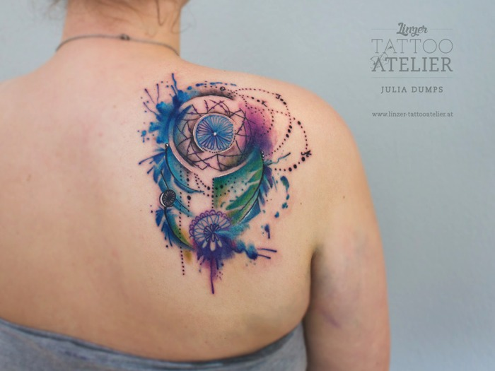 Julia dumps for Watercolor dreamcatcher tattoo