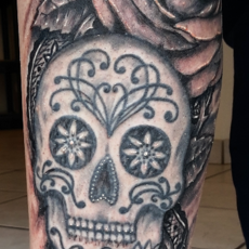 roses and skull