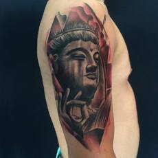Buda tattoo black anda gray