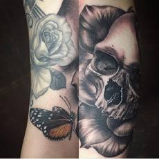 Realistic Rose, Skull and Butterfly