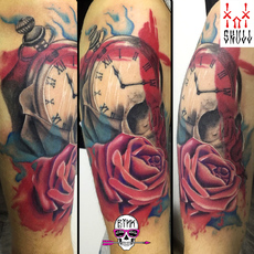 Abstract realism watercolor rose skull clock