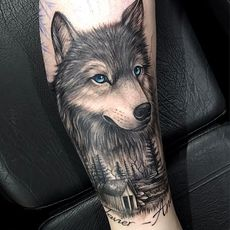 Wolf and forest in progress