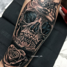 Skull, rose and scorpion