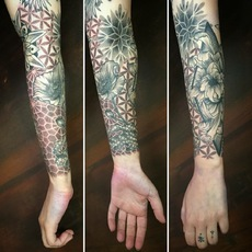 Sleeve with Geometric Elements and Flowers in D...