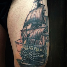 Realistic Sail Ship in Black and Gray