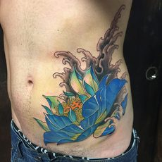 Flower in Color Cover Tattoo