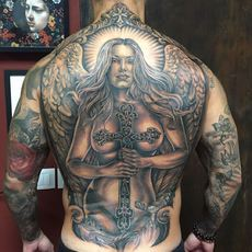 Realistic Angel With Cross Backpiece in Black a...