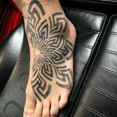 Dotwork Swastika Foot Tattoo