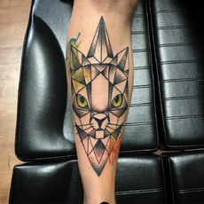 Geometric Cat with Color and Dotwork Shading