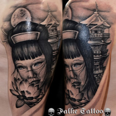 FALKE TATTOO, GEISHA CON PAGODA Y LOTTO