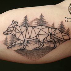 Dotwork Fox and Forest
