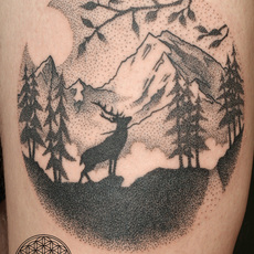 Dotwork Stag and Landscape
