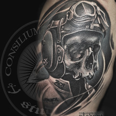 TATTOO TATUAJE CALAVERA MOTERA MOTOR BIKE EN CO...