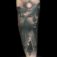 Cover up con retrato y paisaje