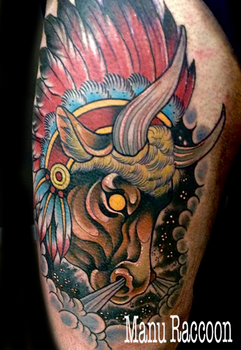 Buffalo tattoo neo traditional for Traditional bison tattoo