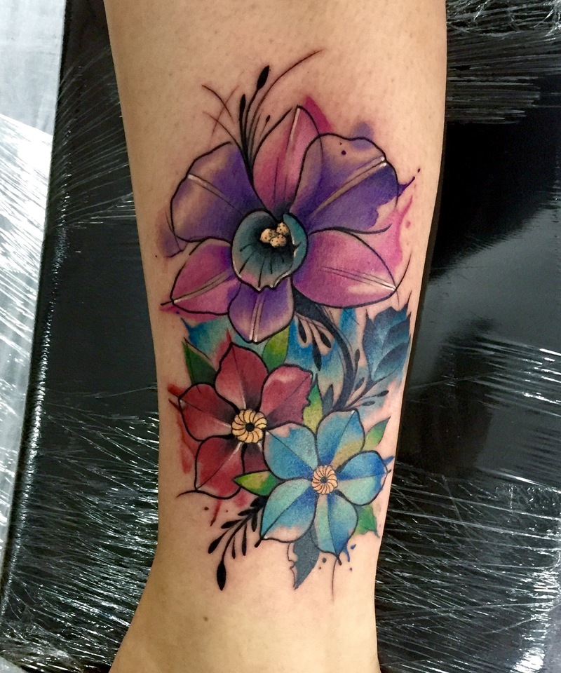 Flowers Watercolor Tattoo