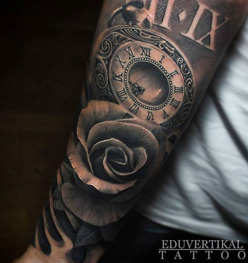 Tattoo Designs Roses And Clock: ROSE AND CLOCK