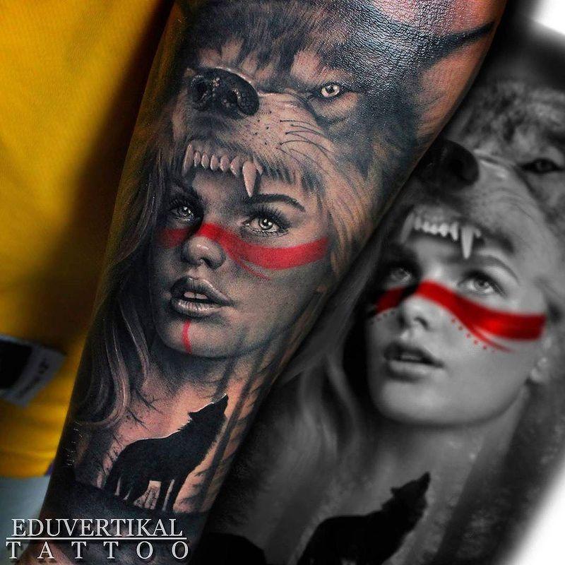 Wolf Headdress Tattoo: Girl Wolf Headdress