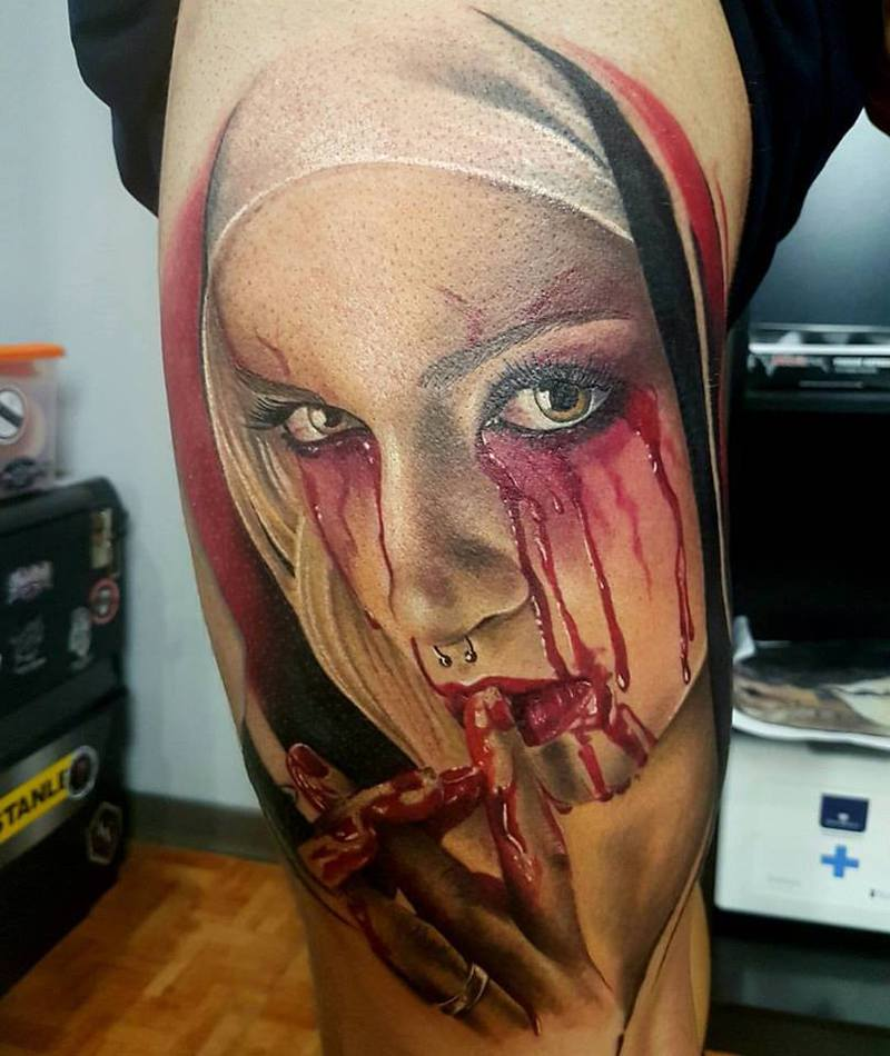 Realism Tattoo For Woman: Woman Horror Tattoo, Realistic Tattoo Color,portrait Color