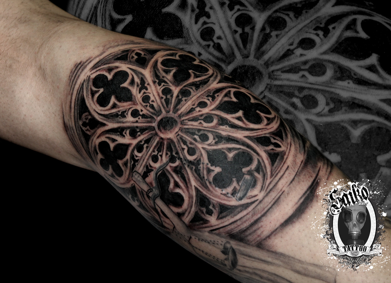 Gothic Rose Window Tattoo