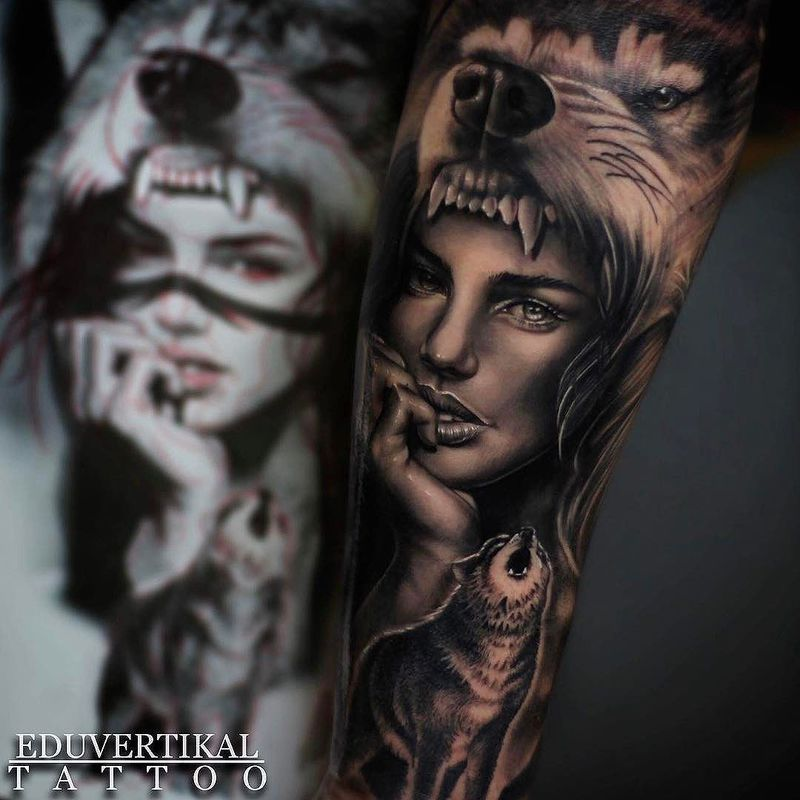 Tattoos Wolf Tattoos Headdress Tattoo: WOLF HEADDRESS