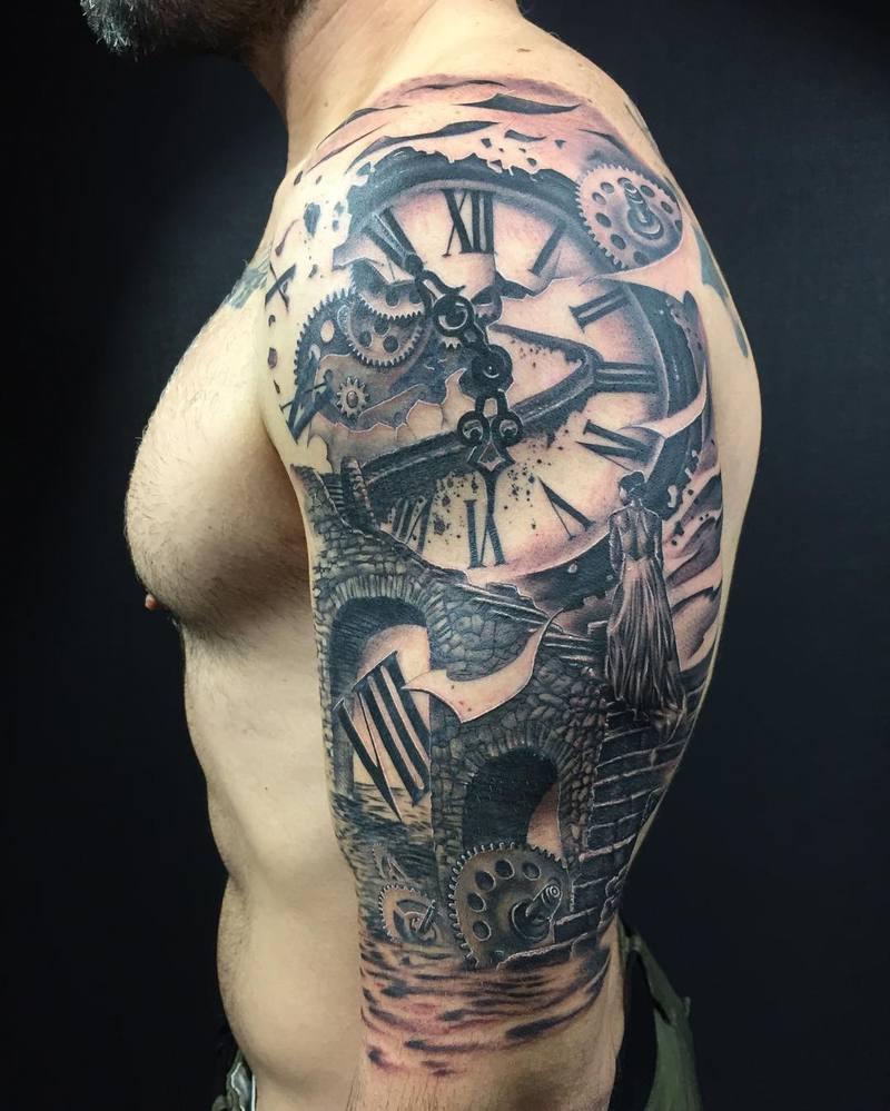 Stairsclockworkseawoman Black And Grey Tattoo